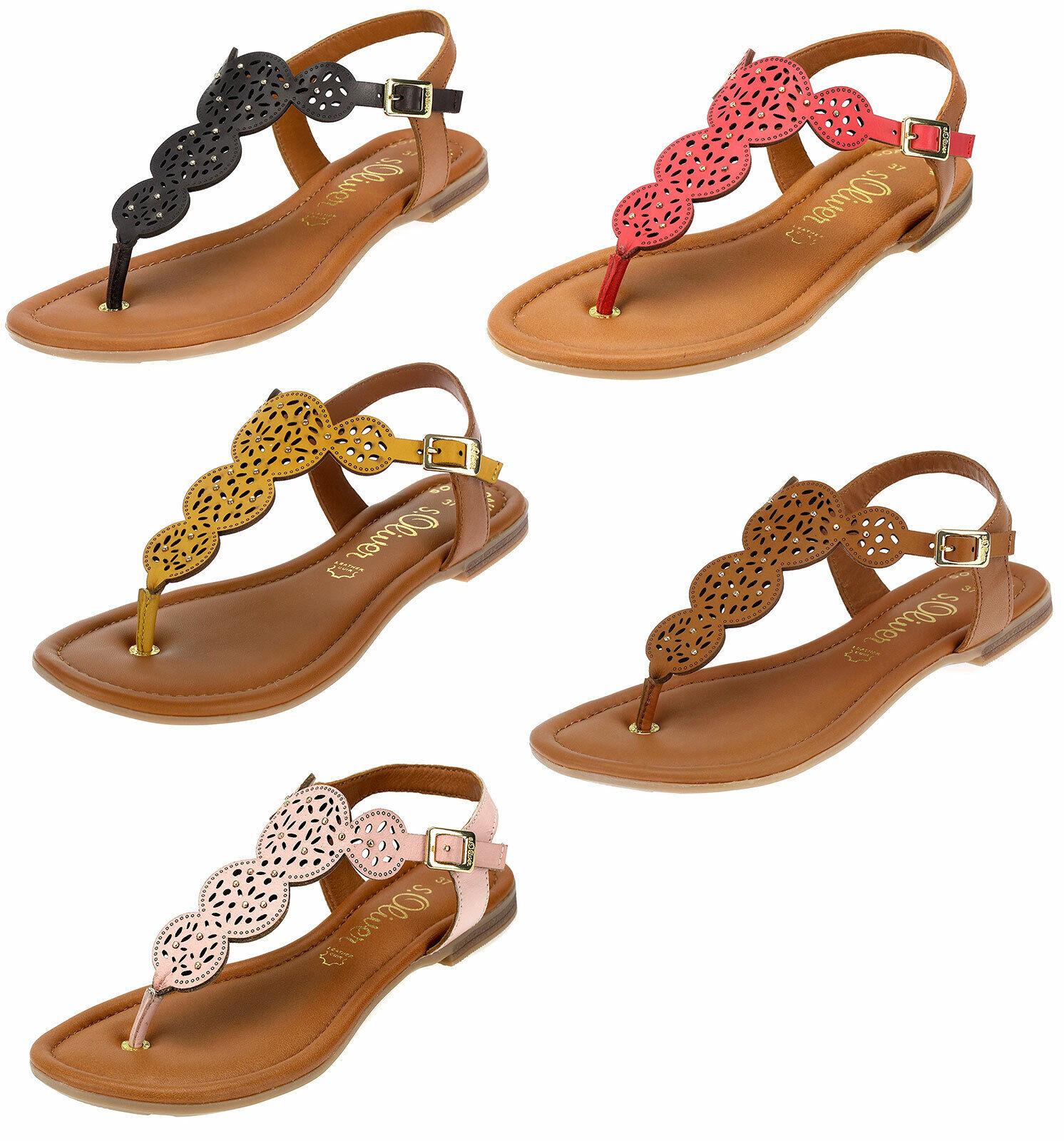 S.Oliver Flip Flop pour femmes Cuir Véritable Sandales Été Sandalettes