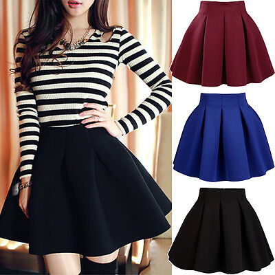 Fashion Women High Waist Plain Stretch Skater Flared Pleated Skirts  3 Colors