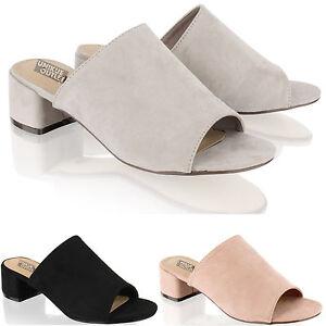 dcf6706d68704 Womens Ladies Mid Block Heel Mules Open Toe Backless Summer Sandals ...