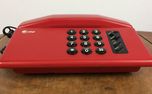 Vintage 80s 90s Memphis Design Space Age Red AT&T Mid