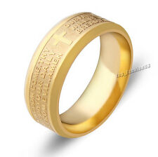 Lots of 24pcs Stainless Steel Etched Lord's Prayer Cross Wedding Gold Band Ring