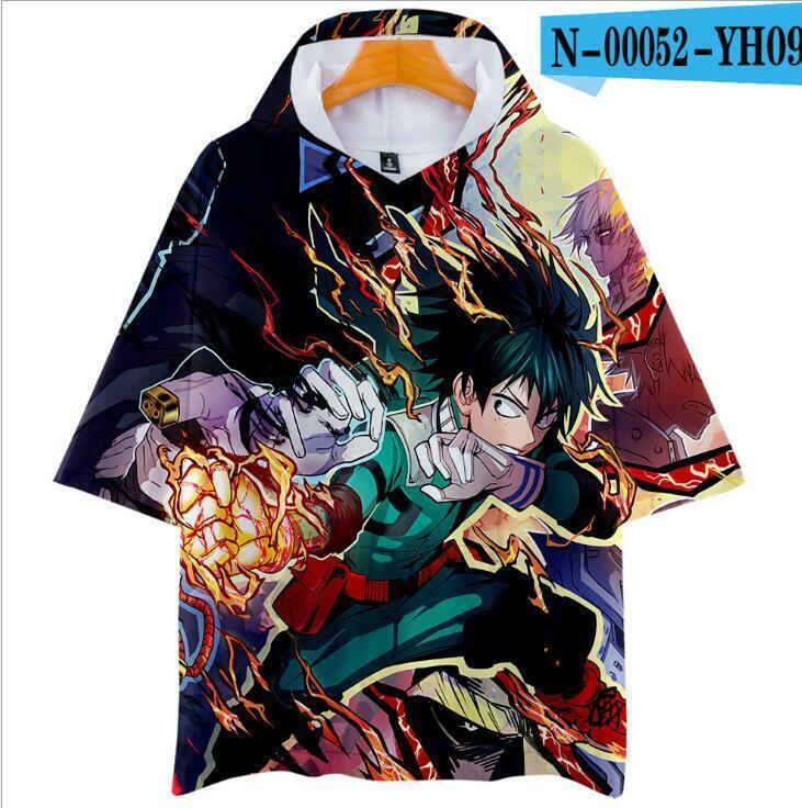 My Hero Academia Anime Short Sleeve Hoodie T shirt! 3D! Double Sided!