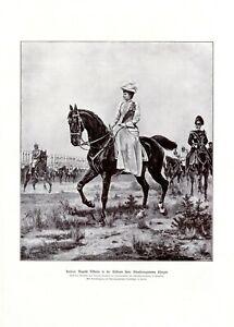 Kaiserin Auguste Viktoria XL Kunstdruck 1906 Konrad Freyberg Damensitz Kürassier