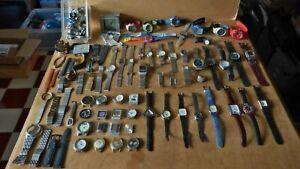 Lot + de 50 mouvements montres + bracelets + pièces à restaurer horlogerie