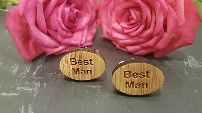 WOODEN OVAL Mens Wedding Cuff Link Cufflinks Set Groom Best Man Usher Page Gift