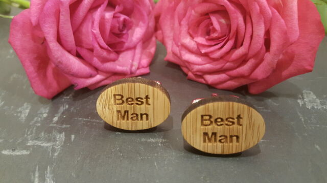 WOODEN OVAL Mens Wedding Cuff Link Cufflinks Set Groom Best Man Usher Page Gift