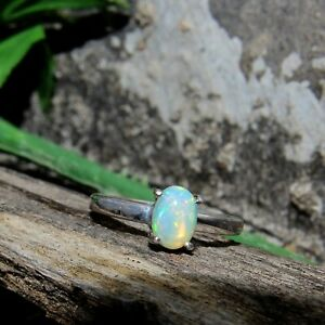 Natural-Ethiopian-Fire-Opal-Oval-Cabochon-925-Sterling-Silver-Charm-Women-Ring