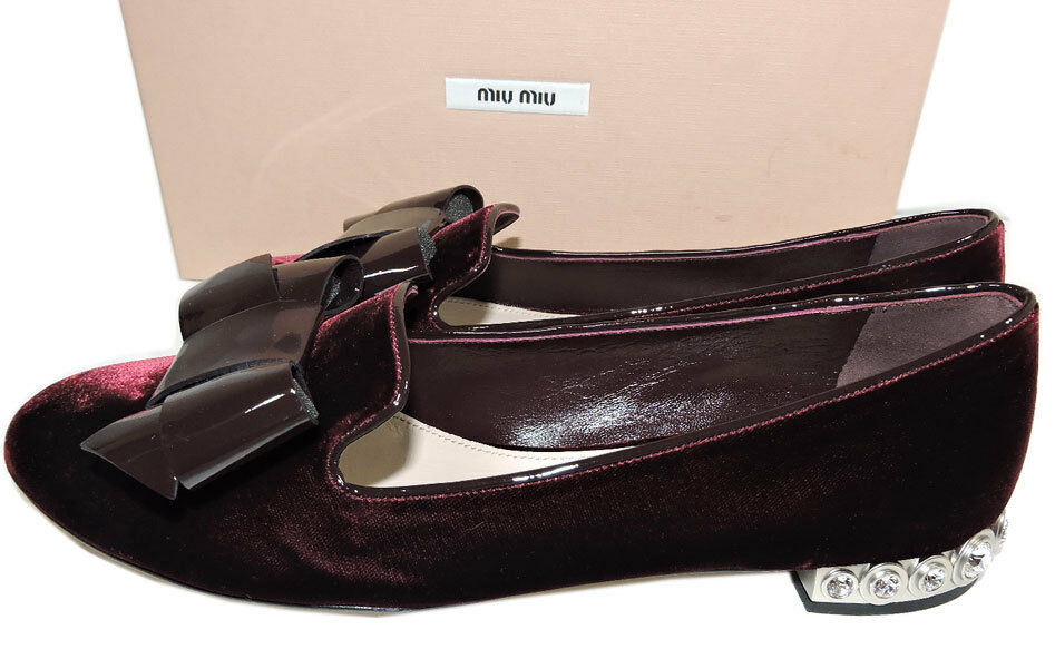 Miu Miu-Prada Burgundy Leather Leather Leather Bow Ballet Flat Ballerina chaussures 39.5 Crystals Heel 0b06b7
