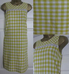 NEW-Next-Shift-Tunic-Dress-Linen-Blend-Sleeveless-Summer-Gingham-Yellow-6-22