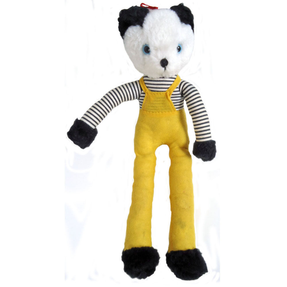 Panda Bear In Yellow Dungarees Soft Toy Vintage Handmade 1960s 1970s Collectable