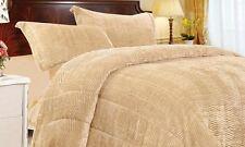 3 Piece Tiger Fur Comforter Set Queen Sand/Beige