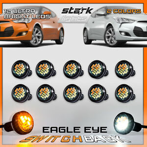 Timagebreze 4 Pcs Car 12V 23Mm Dual Color Switchback 4014 12 Led Drl Eagle Eye Daytime Light