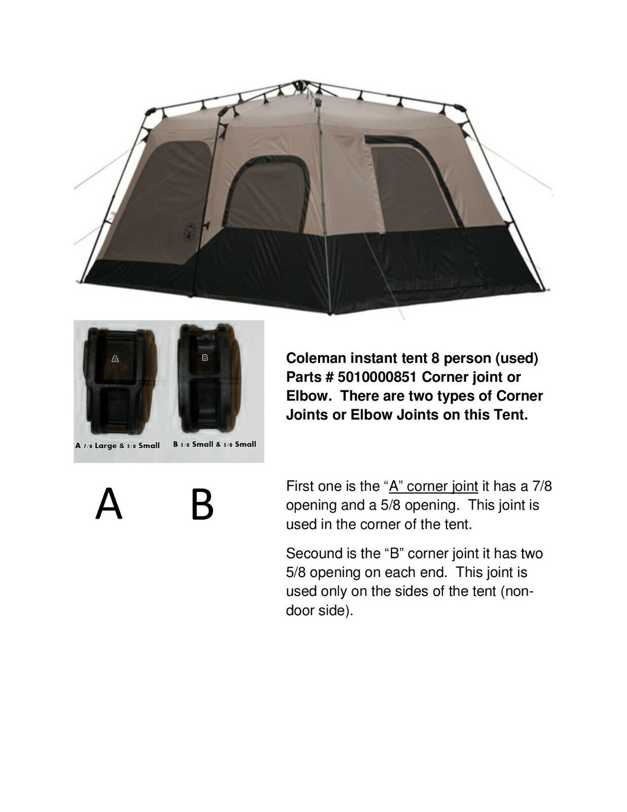 Coleman instant tent 8, 10 person Parts # 501000851 (16-16-130 or 22-16-125)