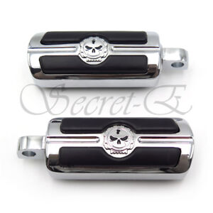 i5 Chrome Skull Foot Pegs for Harley Davidson Softail Dyna Glide Sportster