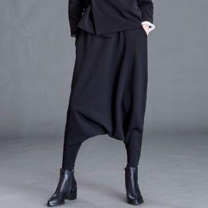 più amato f2208 07336 Dettagli su Donna Pantaloni Harem Larghi Pantaloni Casual Hippie Cavallo  Basso Tasche Nero