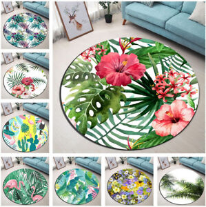 Tropical-Palm-Leaves-Floral-Cactus-Round-Floor-Mat-Living-Room-Area-Rugs-Carpet