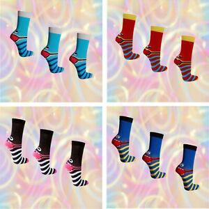 3-Paar-freche-Bande-Socken-Damen-Struempfe-Kinder-Maedchen-Jungen-Motiv-bunt