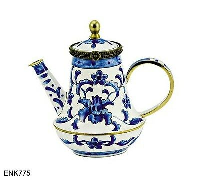 KELVIN CHEN Enamel Copper Handpainted Mini Teapot - Blue White Asian