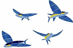 Ceramic Mosaic Flying Fish (set of 4) for Swimming Pool or Wall - Free Shipping