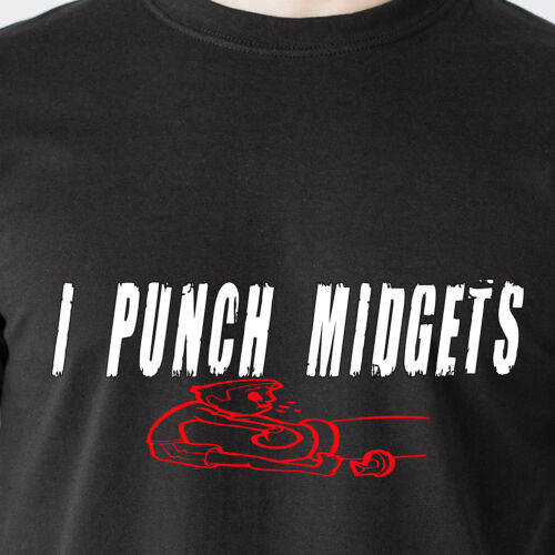 I PUNCH MIDGETS little people naked gun retro humor fight Airplane Funny T-Shirt