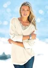 Damen Pullover Pulli Größe 34 creme weiß beige Strickpulli lang mit Spitze