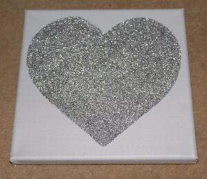 Grey Amp Silver Glitter Sparkly Love Heart Canvas Wall Art