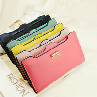 Fashion Womens Girls Leather Bowknot Clutch Wallet Long PU ID Card Purse Handbag