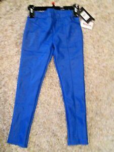 NEW-M-HURLEY-Girls-Leggings-Pants-Faux-Leather-Bright-Racer-Blue-Skinny-Orig-32