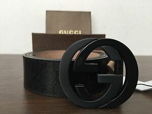 cf6578be783 NWT Authentic Gucci Men s Black GG Imprimé Shiny Belt 223891 FU49X ...