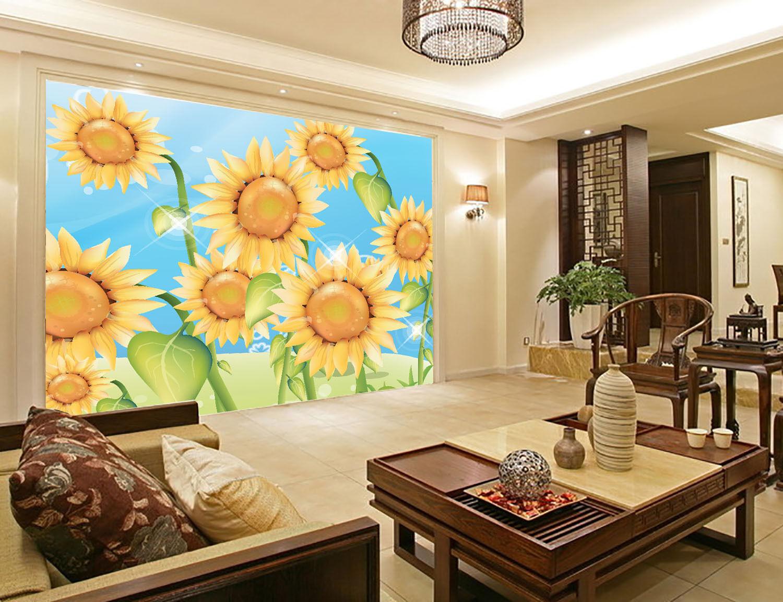 3D Cartoon Sunflower2379 Paper Wall Print Decal Wall Wall Murals AJ WALLPAPER GB
