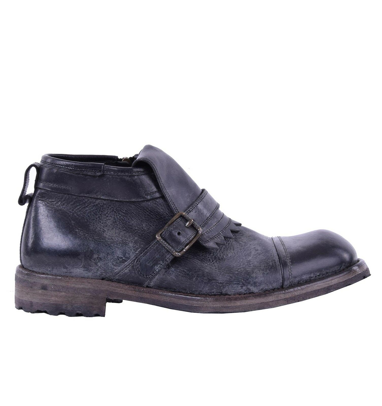 Dolce & Gabbana Distressed Ankle Boots SIRACUSA Black With Buckle Boots 0505
