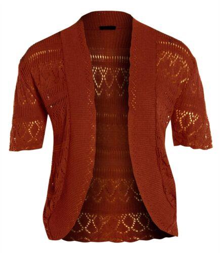 New Womens Knitted Crochet Bolero Cardigan Plus Size Jumper Tops 16-26