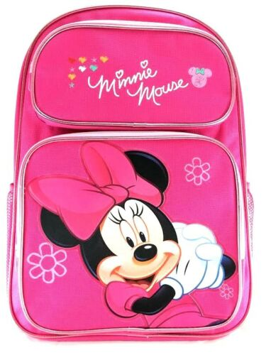 """Disney Minnie Mouse Girls 16/"""" Canvas Pink School Backpack"""
