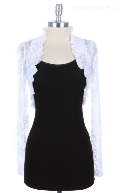 Lace Long Sleeve SHRUG BOLERO Ruffle Open Crochet Cardigan Jacket Top S~3XL