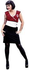 77555 Kool Yer Jets Striped Sugar Skull Stripes Dress Pinup Goth Punk Small S
