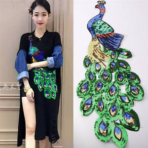 Women-Sequin-Peacock-Embroidery-Applique-Patch-Sew-On-Clothes-Accessory-DIY-FO