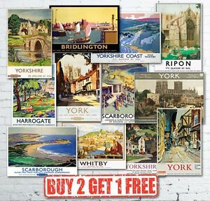 Vintage-British-Yorkshire-Travel-Railways-LNER-GWR-LMS-Train-Posters-A5-A4-A3
