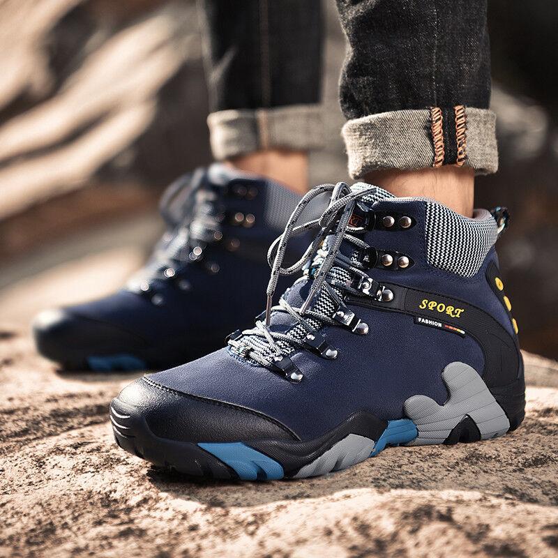 Impermeable Hombre botas De Montaña Trail Deportes al Aire Libre Zapatos De Invierno Caliente de Piel de escalada