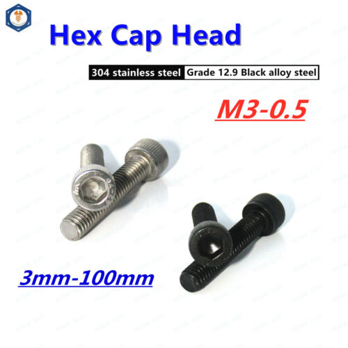 M3-0.5 Allen Socket Cap Head Screw Bolt 304 Stainless /& Black alloy steel DIN912