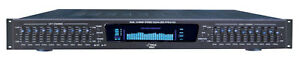 NEW-Pyle-19-Rack-Mount-Dual-10-LED-Band-4-Input-Stereo-VFD-Spectrum-Equalizer