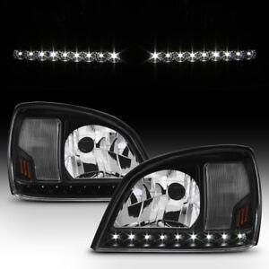 Black 2000-2005 Cadillac Deville LED Strip Headlights Headlamps 00