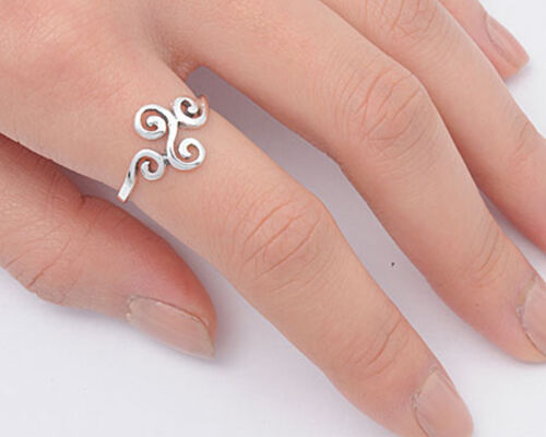 Women/'s Swirl Fashion Unique Ring New .925 Sterling Silver Band Sizes 4-11