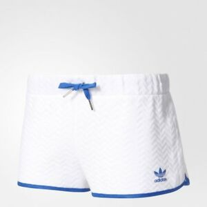 Adidas-Originals-Slim-Shorts-BJ8371-PANTALONCINO-SPORTIVO-DONNA-BIANCO-ORIGINA