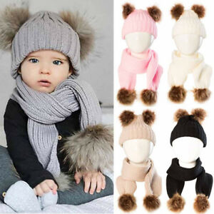 cdd73ec2150 2PCS Newborn Baby Kids Boy Girl Winter Warm Cap Fur Pom Knitted ...