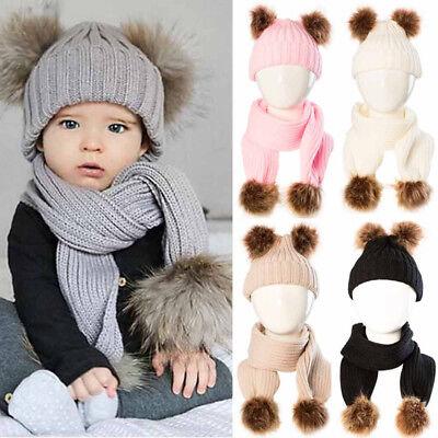 24ac9e27007 Best Quality Baby Kids Boy Girl Winter Warm Cap Pom-Pom Knitted Beanie Hat+