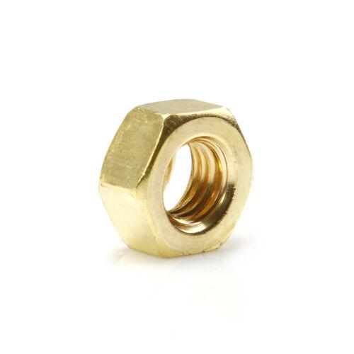 1~500pcs M2 M3 M4 M5 M6 0.4-2.5mm Solid Brass Machine Screw Hex Hexagon Nuts New