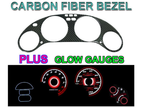 JDM Style Carbon Fiber Bezel+Red Glow Gauge For 93-97 Honda Del Sol DelSol VTEC