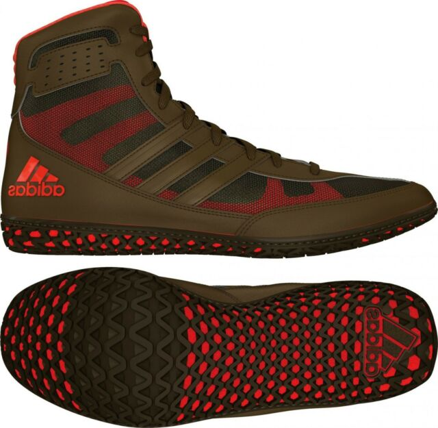 aca9b8e0c4 Adidas Mat Wizard David Taylor Wrestling Boxing MMA Shoes - Olive  Green/Orange