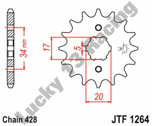 JT 15 Tooth 428 pitch front sprocket for Honda CB CBF CBR 125 RS Repsol RT RW R