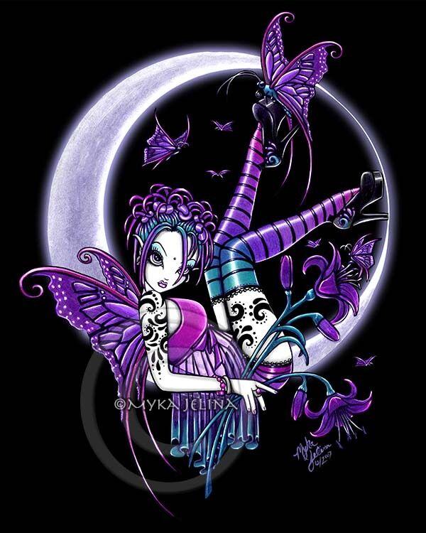 Crescent Moon Fairy Art Print Gothic FAE Rainbow Tattoo Paige Myka Jelina